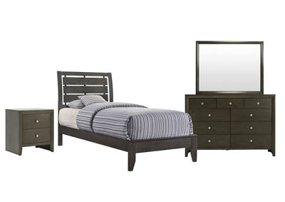 EVAN GREY TWIN BEDROOM SET,CROWN MARK INT.