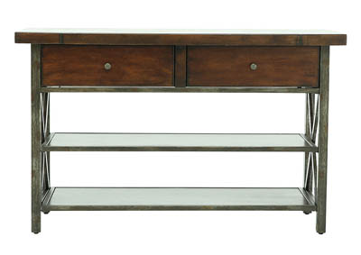 CROSSING BROWN CHERRY AND STEEL HD CONSOLE BASE