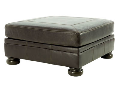 BANNER COFFEE LEATHER/LEATHER MATCH OVERSIZE ACCENT OTTOMAN