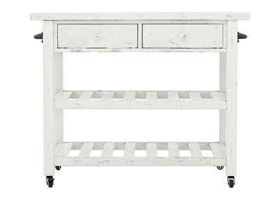MARLIJO TEXTURED WHITE KITCHEN CART