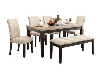 GREYSTONE FABRIC 6 PIECE DINING SET