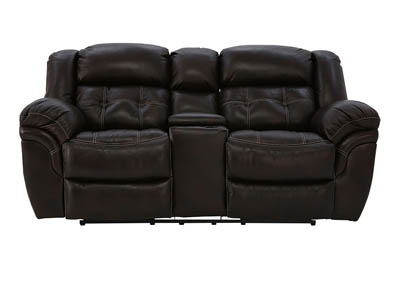 HUDSON CHOCOLATE LEATHER RECLINING LOVESEAT WITH CONSOLE
