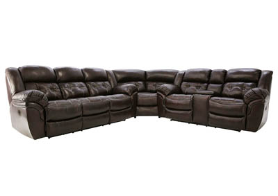 HUDSON CHOCOLATE 3 PIECE LEATHER SECTIONAL