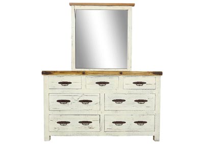 SCRAPED WHITE DRESSER AND MIRROR