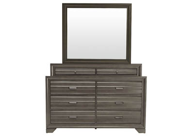 ASLINN ANTIQUE GREY DRESSER AND MIRROR