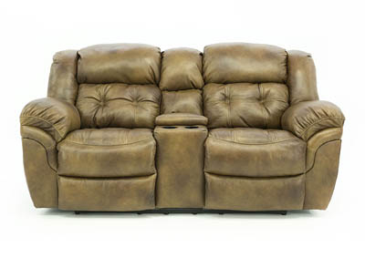 HUDSON SADDLE LEATHER RECLINING LOVESEAT WITH CONSOLE