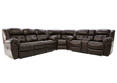 HUDSON CHOCOLATE 3 PIECE POWER LEATHER SECTIONAL