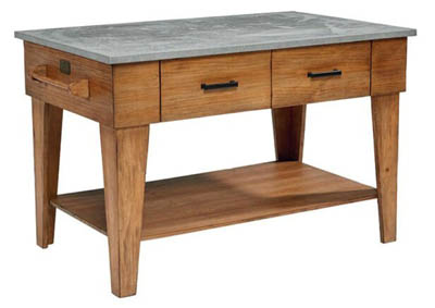 FARMHOUSE TOFFEE ZINC TOP KITCHEN ISLAND