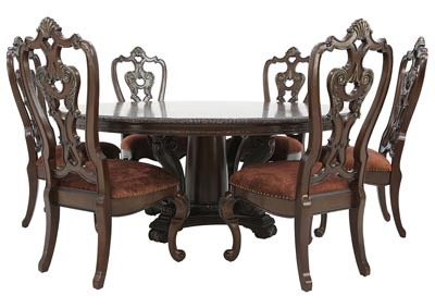 GENEVIEVE 7 PIECE ROUND DINING SET
