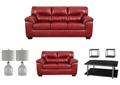 AUSTIN RED LIVING ROOM SET