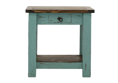 LAWMAN TURQUOISE END TABLE