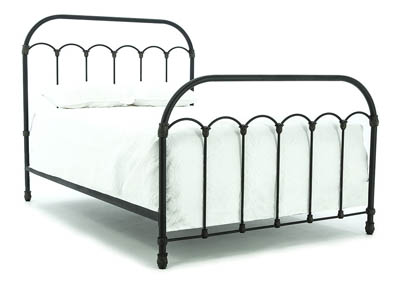 PRIMITIVE BLACKENED BRONZE COLONNADE QUEEN BED