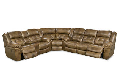 HUDSON SADDLE 3 PIECE LEATHER SECTIONAL ,HOME STRETCH