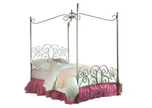 PRINCESS SILVER FULL CANOPY BED