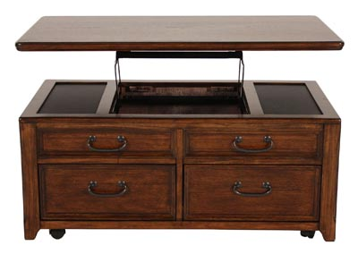WOODBORO DARK BROWN LIFT TOP COCKTAIL TABLE
