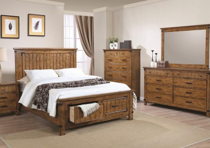 Brett King Storage Bed, Dresser, Mirror, Chest and Nightstand,Jaron's Showcase