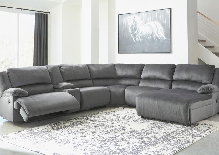 Brighton 6 Piece Charcoal LAF Reclining Sectional,Jaron's Showcase