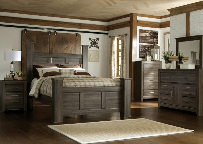 Spenser King Poster Bed, Dresser, Mirror, Chest and 1 Nightstand,Jaron's Showcase