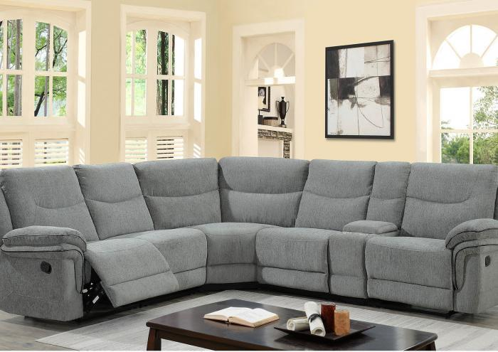 Windsor 6 Piece Reclining Sectional in Riley Pewter,Jaron's Showcase