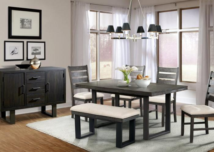 Sawyer Table, 4 Chairs, Bench and Server-LIMITED QUANTITY,Jaron's Showcase