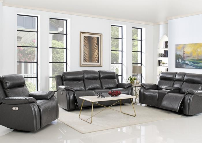 Vigo Power Reclining Sofa with Power Headrest and Power Reclining Loveseat with Power Headrest,Jaron's Showcase