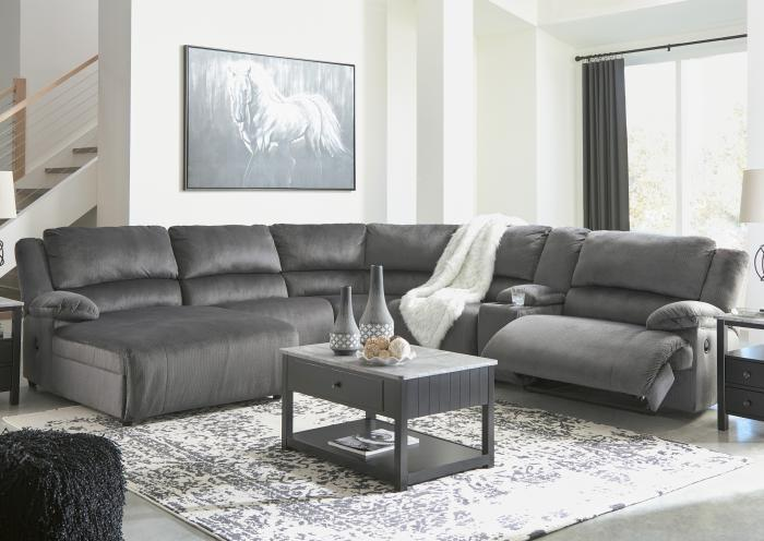 Brighton 6 Piece Charcoal RAF Reclining Sectional,Jaron's Showcase