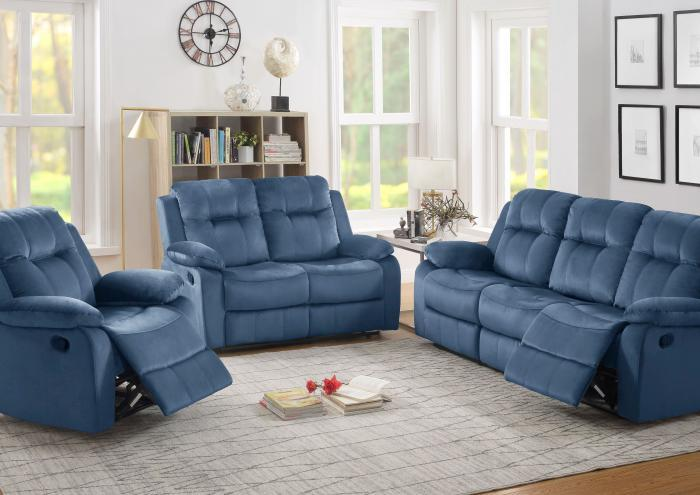 Bryant Reclining Sofa, Reclining Loveseat and Recliner in Blue-SOLD AS A 3 PIECE SET ONLY-LIMITED QUANTITY,Jaron's Showcase