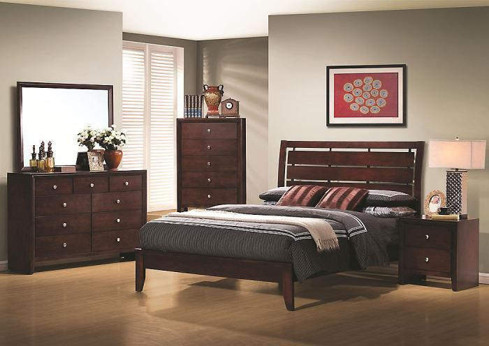Serenity Queen Bed, Dresser, Mirror, Chest and One Nightstand,Jaron's Showcase