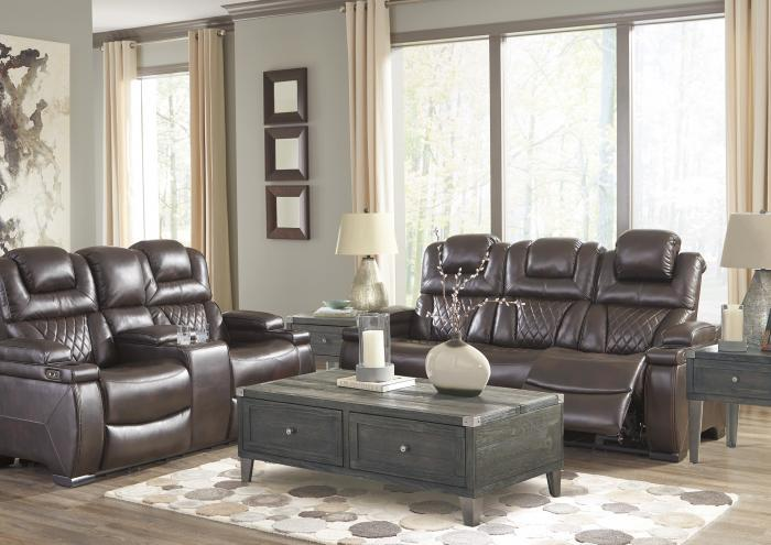 Lincoln Power Reclining Sofa with Adjustable Headrest ,Jaron's Showcase