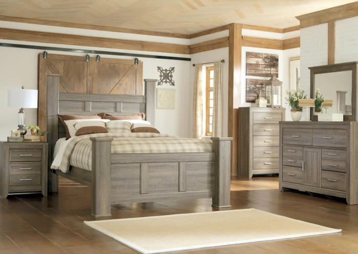 Spenser Queen Poster Bed, Dresser, Mirror, Chest and 1 Nightstand,Jaron's Showcase