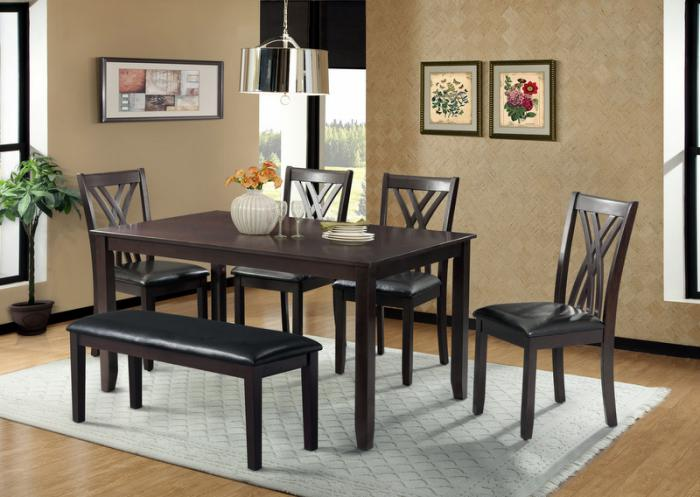 Barrister Table, 4 Side chairs and Bench,Jaron's Showcase