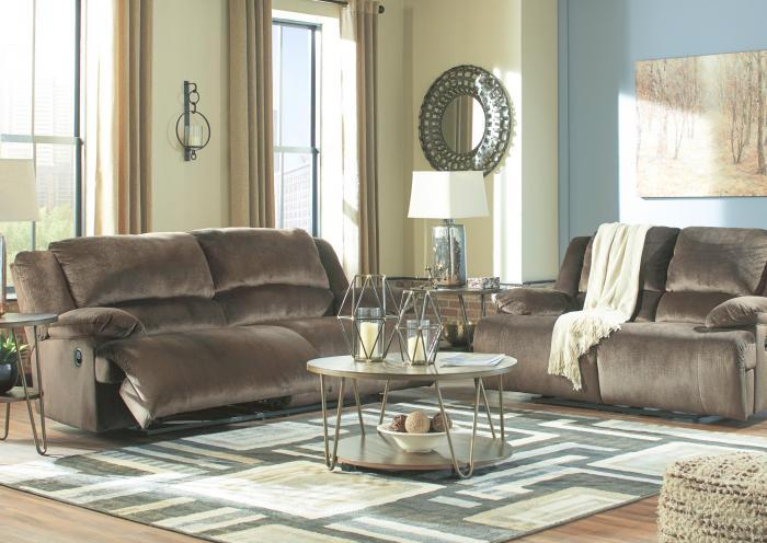 Brighton Chocolate Reclining Sofa,Jaron's Showcase