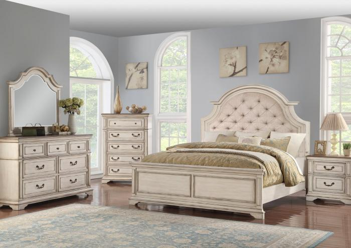 Anastasia King Upholstered Bed, Dresser,  Mirror, chest and 1 Nightstand,Jaron's Showcase