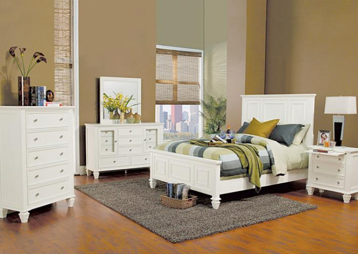 Sandy Beach White King Bed, Dresser, Mirror, Chest and 1 Nightstand,Jaron's Showcase