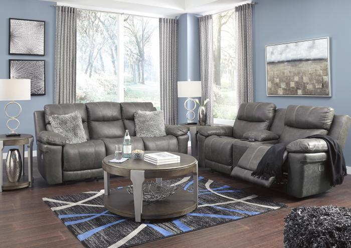 Carbon Power Reclining Sofa and Power Reclining Loveseats with Adjustable Headrests,Jaron's Showcase