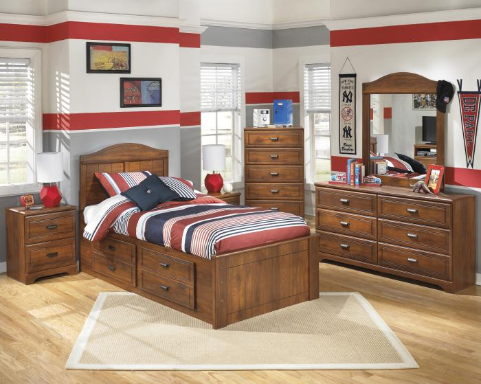 Stephan Twin Panel Bed with Storage, Dresser, Mirror, Chest and 1 Nightstand,Jaron's Showcase