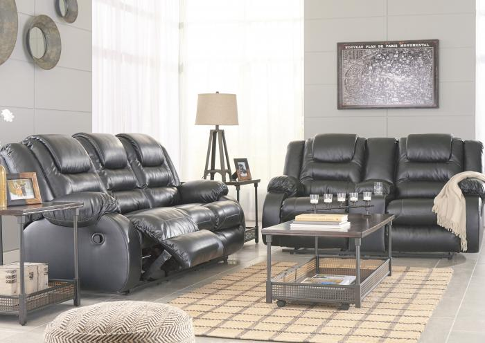 Alliston Black Reclining Sofa and Reclining Loveseat,Jaron's Showcase