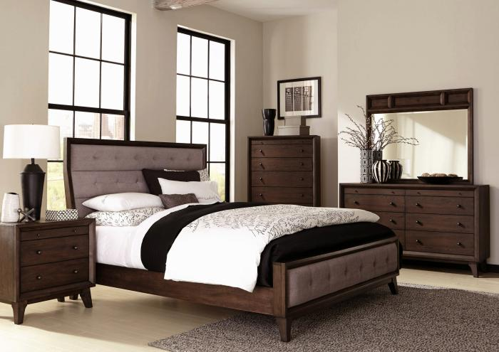 Bingham Upholstered Queen Panel Bed, Dresser and Mirror,Jaron's Showcase