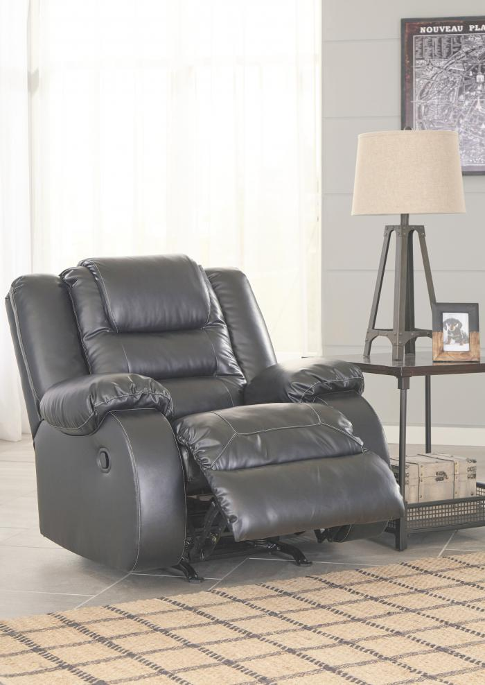 Alliston Black Rocker Recliner,Jaron's Showcase
