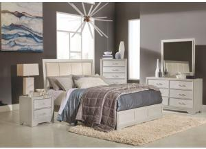 Champagne Queen Bed, Dresser, Mirror, Chest and 1 Nightstand