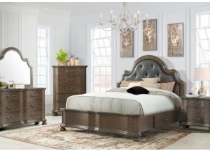 Baron King Upholstered Storage Bed, Dresser, Mirror, Chest and 1 Nightstand