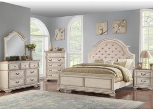 Anastasia Queen Upholstered Bed, Dresser,  Mirror, chest and 1 Nightstand