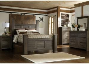 Spenser King Poster Bed, Dresser, Mirror, Chest and 1 Nightstand