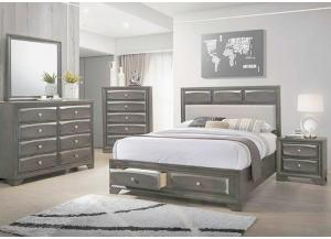 Decker Queen Storage Bed, Dresser, mirror, Chest and 1 Nightstand-LIMITED QUANTITY