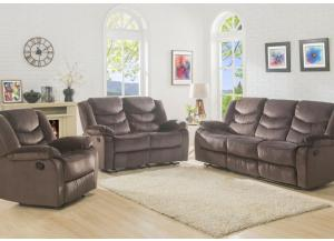 Bryant Reclining Sofa, Reclining Loveseat and Recliner in Chocolate-SOLD AS A 3 PIECE SET ONLY
