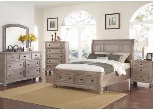 Image for Allegra Pewter King Storage Bed, Dresser, Mirror, Chest and 1 Nightstand