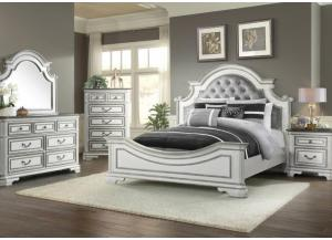 Leighton Manor King Bed, Dresser, Mirror, Chest and 1 Nightstand-2 FLOORSAMPLES LEFT,Jaron's Showcase