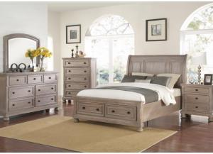 Image for Allegra Pewter King  Sleigh Storage Bed