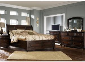 Porter Queen Sleigh Storage Bed, Dresser,  Mirror, Chest and 1 Nightstand,Jaron's Showcase
