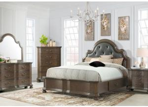 Baron King Upholstered Storage Bed, Dresser and Mirror